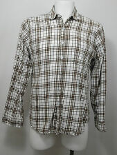 Mens Steven Alan Button Up Shirt Size Large Dress Oxford Cotton Brown Plaid PO8