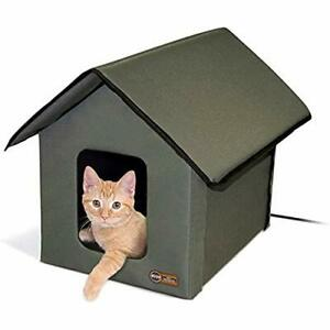 K&H Pet Products Outdoor Heated Kitty House Cat Shelter Olive Green 18 X 22 X...