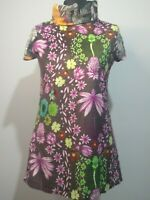 Custo Barcelona Print Clash Dress Size 4 UK 12 Pink Brown Flowers Tunic Velvet