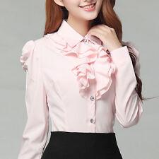 Women Ruffle Shirt Long Sleeve Button School Work Office Elegant Slim Blouse Top