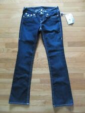 TRUE RELIGION BOOTCUT BACK FLAP POCKETS, DARK BLUE WHITE STITCHING, NWT, 28