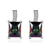 Sterling Silver SF Post Earrings 8*6mm & 6*4mm Mystic Rose Rainbow Topaz