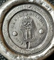 """1 oz .999 Silver hand poured Egyptian pharaoh skull stamped """" wax seal """" Anubis"""