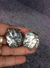 Vtg Modernist Mariquita Masterson Art Glass Sterling  Silver 925 Clip earrings