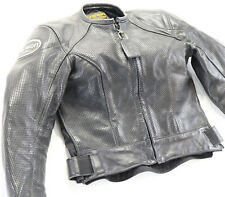 womens vanson leather jacket s small black cobra perforated armor 66755A zip up
