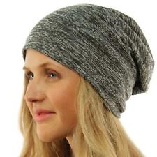 Unisex Marled Jersey Knit Thin Lined Slouch Long Beanie Skull Ski Hat Charcoal