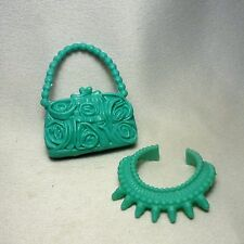 Barbie Mint Rose Moulded Purse Necklace Set
