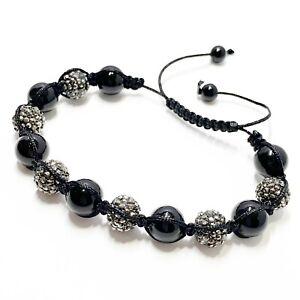 Unisex Black Hematite Rhinestone Glass Ball Braided Shamballa Bracelet