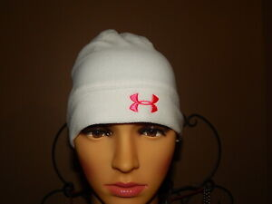 Under Armour - Youth OSFA - White w Pink Logo - Beenie Cap w Pony Tail Slot