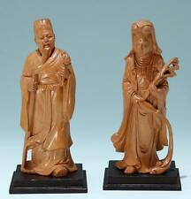 A pair of Chinese carved wood figures - 20th. C.