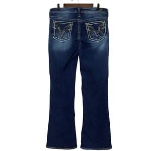 Vigoss Heritage Fit Boot Cut Embellished Mid Rise Blue Jeans Plus Size 16 x 34