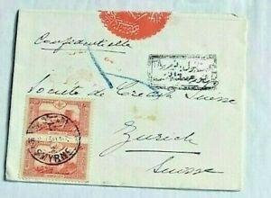 1915 Ottoman Turkey Switzerland Censored   Cover Sent from Smyrna to Zurich