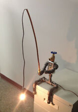 Fisherman Industrial Robot Black Pipe Table Lamp Steampunk Fishing Electrical