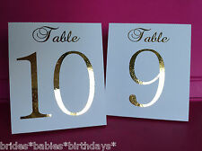 White Table Number Tent Style Wedding Birthday Table Decor Gold Foil