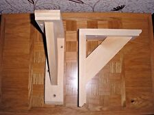 Pair Of Solid Wood (Pine) Gallows Wooden Shelf Support Brackets 190 mm x 230 mm