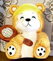 Vintage Teddy Bear Bank Tennis Player