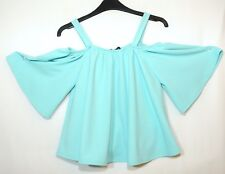 BLUE LADIES CASUAL PARTY TOP BARDOT OFF SHOULDER SIZE 4 ATMOSPHERE STRETCH BLOUS