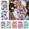 Organic Cotton Swaddle Blanket Newborn Baby Wrap+Headband Sleeping Bag Sleepsack