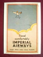 POSTCARD TRAVEL COMFORTABLY BY IMPERIAL AIRWAYS POSTER