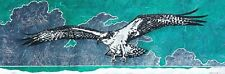 Osprey Fish Hawk Sea Eagle Original Linocut Block Print Art Signed Editioned