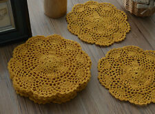 "Lot 6 Yellow Hand Crochet 8"" Round Small Doilies Wedding Party Coasters"