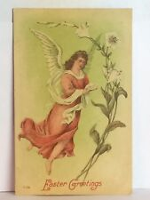 PostCard Easter Greeting Angel Floral Antique Posted 4-10-1909 Vintage