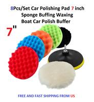 8Pcs/Set Car Polishing Pad 7 inch Sponge Buffing Waxing Boat Car Polish Buffer