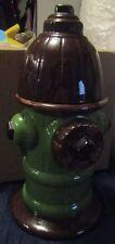 Brown & Green Fire Hydrant Ceramic Cookie Jar Fireman Firefighter Snack Jar
