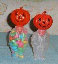 vintage E. ROSEN Halloween plastic JACK-O-LANTERN JOL MAN CANDY CONTAINER LOT x2