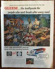 Gleem toothpaste ad 1957 original vintage print 1950s camping trip family GL-70