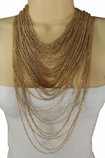 Women Long Fashion Necklace Gold Metal Chains Multi Strands Jewelry Set Earrings
