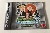 Kim Possible 3 Original Nintendo Game Boy Advance Instruction Booklet Only