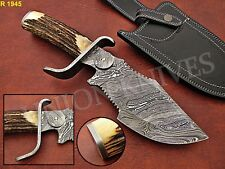 CUSTOME HAND MADE DAMASCUS STEEL HUNTING KNIFE WITH STAG HORN HANDLE.