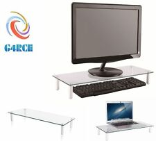 G4RCE Clear Glass Computer Imac Monitor TV Screen Display Riser Shelf Stand UK