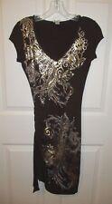 Cache Brown Metallic Gold Floral Leaf Filigree Wiggle Dress Small EUC
