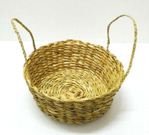 Vintage woven wicker rattan basket thai handmade round 9.5 inch fruit storage