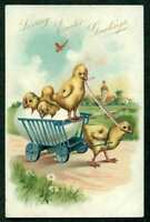 EASTER EMB POSTCARD CHICK PULLING WAGONFUL OF CHICKS RAPHAEL TUCK