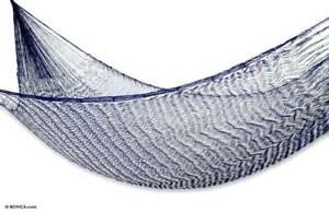 Single Nylon Hammock 'Ocean Waves' Navy Blue & White Handmade NOVICA Mexico