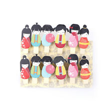 12x Japanese dolls cartoon wood clips photo paper pegs clothes pin craft decors