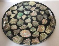 Vintage Abalone Shell Black Acrylic Resin Lucite 2 Handle Serving Tray Plate 13""