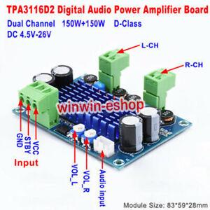 DC 5V-24V 120W+120W TPA3116 D2 Dual Channel Digital Audio Power Amplifier Board