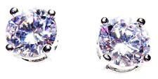 Silver 925 SF Stud Earrings 8mm Round White Sapphire Gemstone