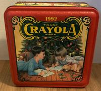 Vintage Crayola Collectible Holiday Tin 1992 - 64 Crayons & Bear Ornament New