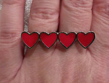 Double Finger 4 Hearts Adjustable Ring Silver & Red Perfect for Valentines Day