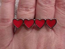 Double Finger 4 cuori regolabile anello argento e rosso perfetto per San Valentino