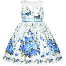 Sunny Fashion US STOCK! Girls Dress Blue Butterfly Casual Floral Party Size 4-12
