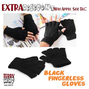 Black  WOOL Winter Fingerless Gloves Warm Winter Unisex Ski Gloves Freesize