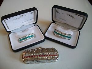 Men's Fashion Silver finish For Bottom/Top Teeth Mouth Grillz With Holder & Box