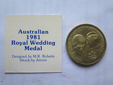 1981 AUSTRALIAN TOKEN PRINCE CHARLES & DIANA WEDDING MEDAL by M R ROBERTS SYDNEY