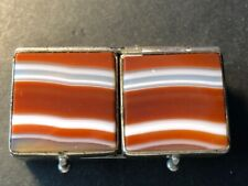 Antique Chrome Stampbox with Red & White Agate on top and base